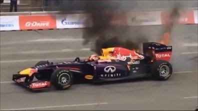 Insolite : Une F1 Red Bull prend feu lors d'une démonstration