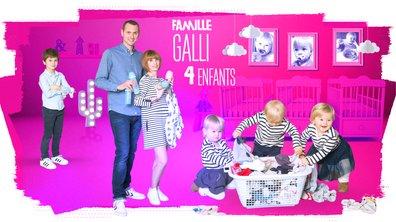 """Famille GALLI : """"Nous sommes les heureux et fatigués parents d'Arthur et des triplés : Rose, Lucie et Maxime"""""""