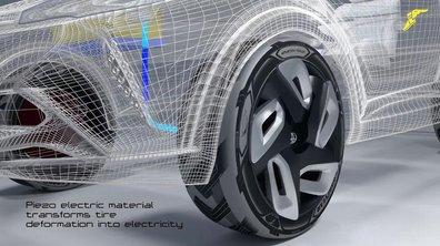 Le pneu qui roule crevé et qui recharge les batteries