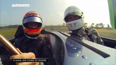 Romain Grosjean au volant d'une Jaguar Type D au circuit du Mans