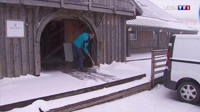 Il neige à gros flocons dans les Vosges alsaciennes