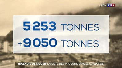 Incendie de Rouen : la liste des produits brûlés s'allonge