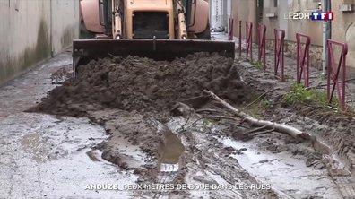 Intempéries dans le Gard : deux mètres de boue dans les rues d'Anduze