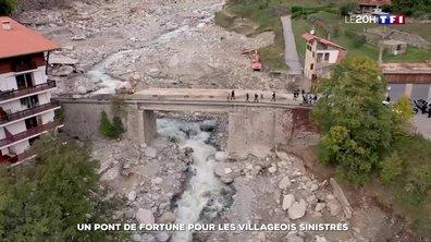 Intempéries dans les Alpes-Maritimes : un pont de fortune pour les habitants de Saint-Martin-Vésubie