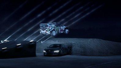 Insolite : Ken Block saute au-dessus d'une Audi R8, et dans le noir !