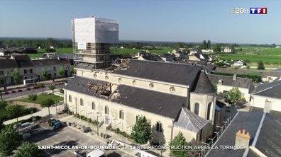 La lente reconstruction de Saint-Nicolas-de-Bourgueil, un mois après la tornade