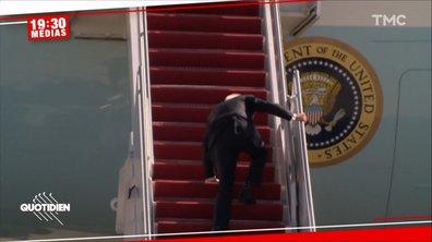La triple chute de Joe Biden fait le tour des réseaux sociaux