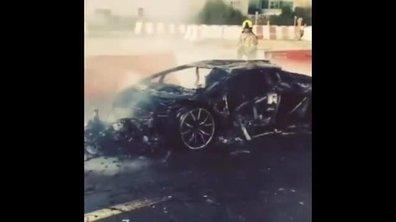 Insolite: Une Lamborghini Aventador anéantie par les flammes à Dubaï !