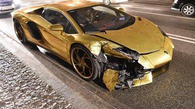 Vidéo Insolite : une Lamborghini Aventador dorée accidentée en Pologne