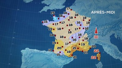 Les prévisions météo du JT de 13 heures du 15 mai 2020