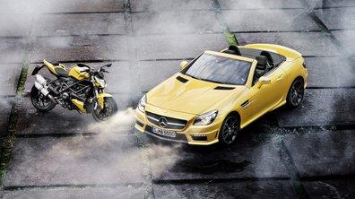 Diaporama : Mercedes SLK55 AMG vs Ducati 848 Streetfighter