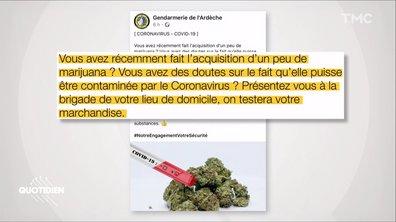 """Merci aux gendarmes qui proposent de """"tester votre marijuana"""" contre le Coronavirus"""