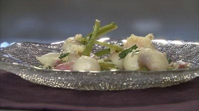 Navets glacés à l'huile d'olive et semoule de blé à menthe