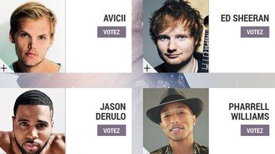 "Avicii, Jason Derulo, Ed Sheeran, Pharrell Williams - Les nommés dans la catégorie ""Artiste Masculin International de l'année"" aux NRJ Music Awards 2014"