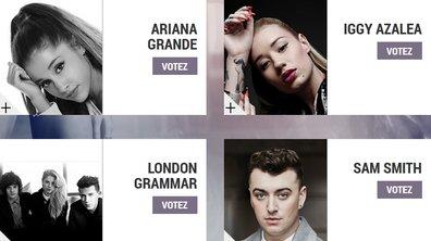 """Ariana Grande, Iggy Azalea, London Grammar, Sam Smith : ils sont nommés pour devenir la """"Révélation Internationale de l'année"""" aux NRJ Music Awards 2014"""