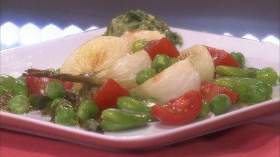 Oignons nouveaux grillés aux fèves et petit pois frais sauce à l'estragon aux câpres