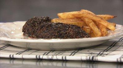 Steak au poivre, frites maison