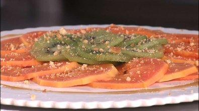 Carpaccio de papaye et kiwi au caramel laitier