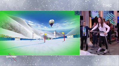 Perrine Laffont et Roméo Elvis testent le simulateur de descente en ski