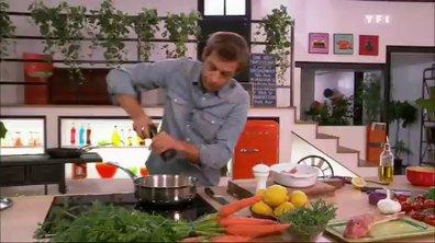 Rouget grondin et salicornes rôtis aux petites carottes