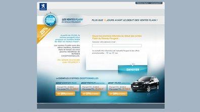 Rappel : des Ventes Flash Peugeot sur le web