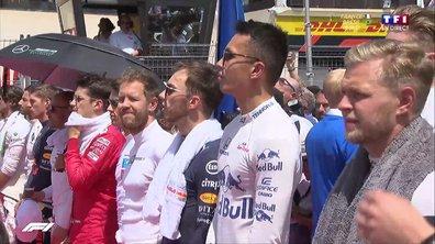Grand Prix de France : Les pilotes écoutent la Marseillaise avant le départ !