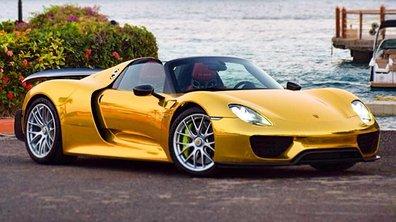 Insolite : Une Porsche 918 Spyder en livrée or !