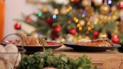 Poularde rôtie et farcie de marrons au foie gras