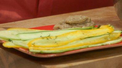 Courgettes multicolores marinées à l'huile d'olive et aux herbes de Provence à l'anchoïade