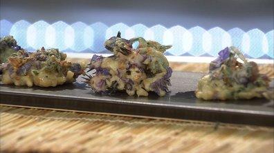 Carpaccio de dorade aux fleurs de capucines et fleurs de ciboulette