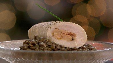 Filet de dinde roulé au foie gras et lentilles crémées à la moutarde