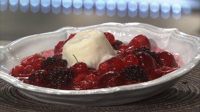 Poêlée de fruits rouges, glace au yaourt de brebis