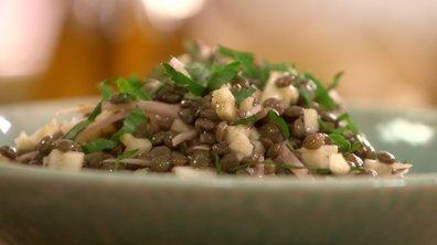 Salade de lentilles vertes du Berry aux pommes et fromage de chèvre sec