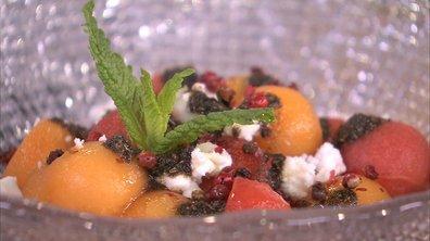 Billes ou cubes de melon et de pastèque à la feta et aux olives