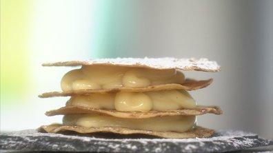 Mille-feuille de crêpes croustillantes à la crème pâtissière