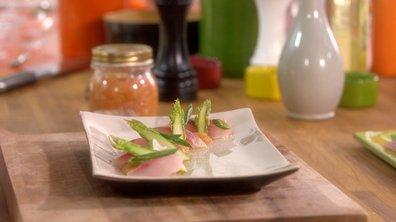 Sashimi de mulet au chutney à la rhubarbe