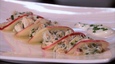 Nectarine au tourteau et à la pêche, vinaigrette au fromage blanc