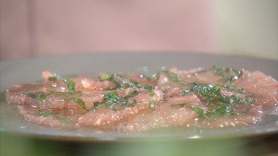 Carpaccio de pamplemousse rose au sirop de basilic