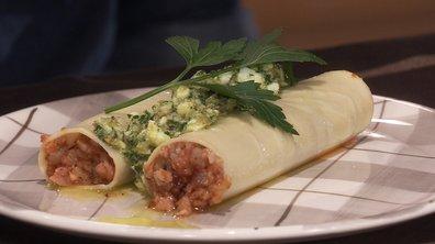 Cannellonis de pied de cochon sauce gribiche