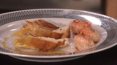 Suprêmes de poularde aux langoustines, sauce à l'armagnac