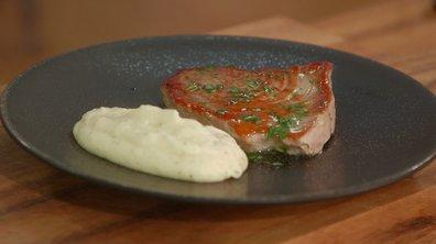 Steak de thon, vinaigrette asiatique à l'estragon et mousseline de cerfeuil tubéreux