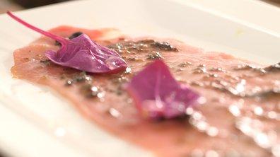 Carpaccio de veau aux olives et anchois frais