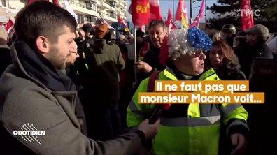 Pour sa première sortie officielle, Emmanuel Macron évite soigneusement les gilets jaunes