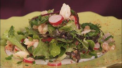 Salade de radis et crabe en vinaigrette d'Espelette