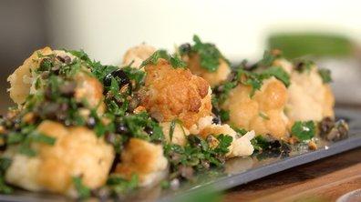 Chou-fleur grillé aux olives