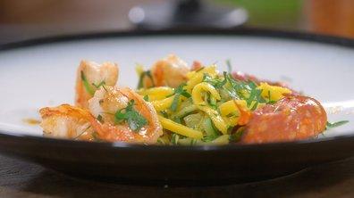 Crevettes au chorizo, courgettes et mangue