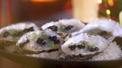 Huîtres en gelée et perles de hareng