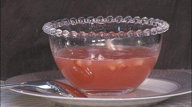Soupe froide de rhubarbe et fraises croquantes