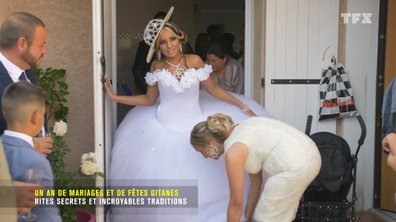 Dans sa robe de mariée démesurée, Naomi… galère un peu