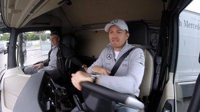 Insolite : quand Rosberg, Hülkenberg et Wehrlein s'entraîne... en camion Mercedes